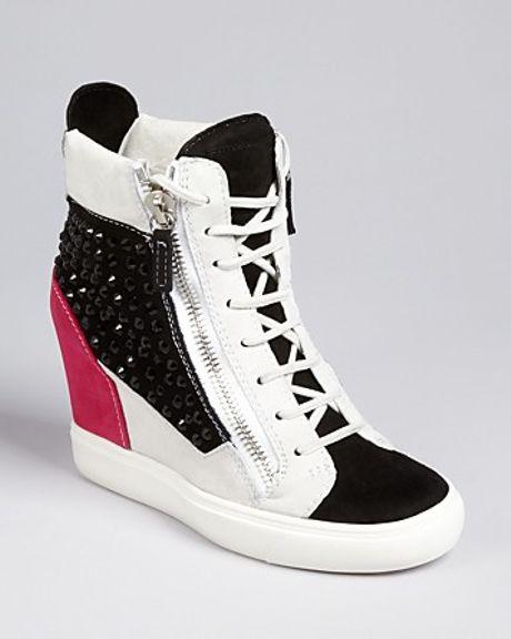 Giuseppe Zanotti Lace Up Wedge Sneakers London in Black ...