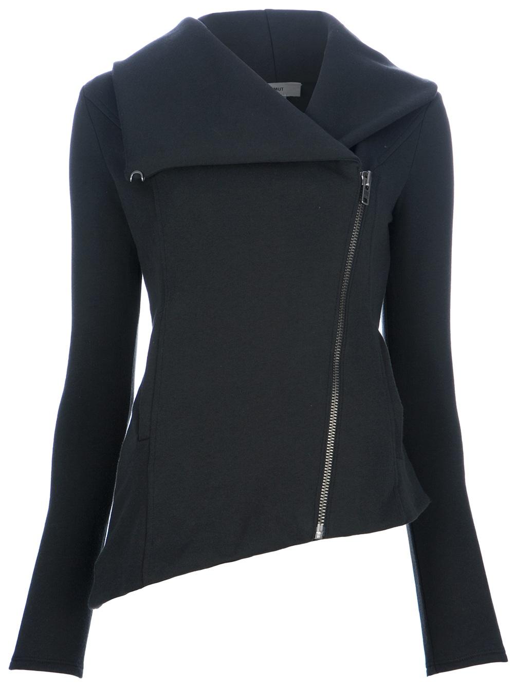 helmut asymmetric zip sweatshirt in black lyst