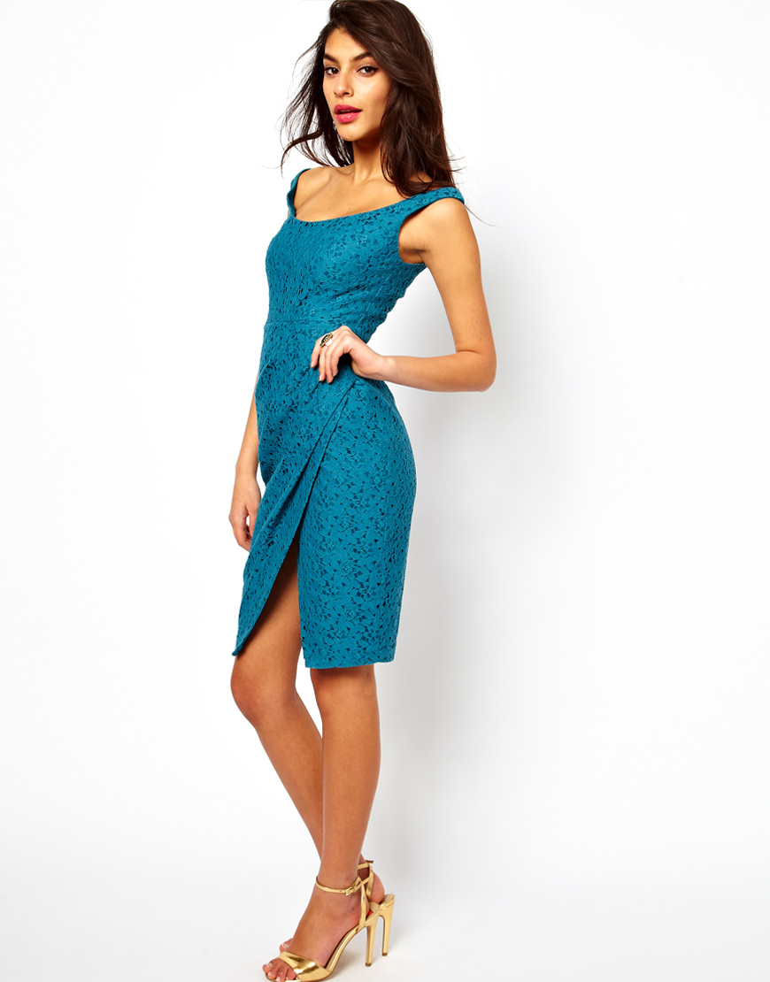 Lyst - Asos Collection Sexy Lace Structured Dress with Off Shoulder ...