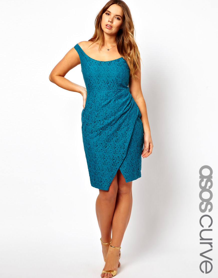 Lyst - Asos Asos Curve Lace Dress with Off The Shoulder in Blue