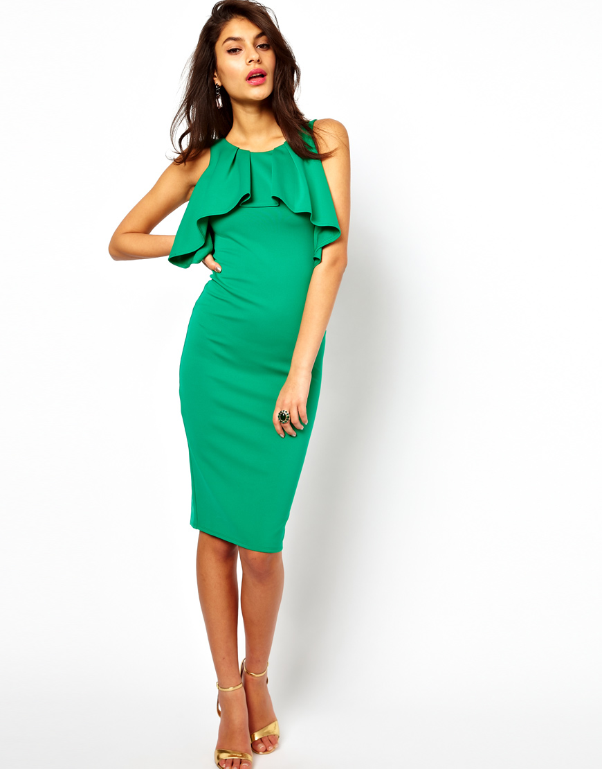 Lyst - Asos Collection Midi Pencil Dress with Ruffles in Green