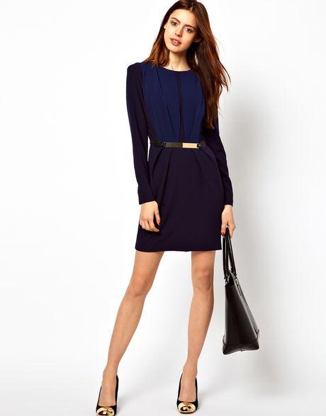 asos tulip dress with metal belt in blue navy lyst