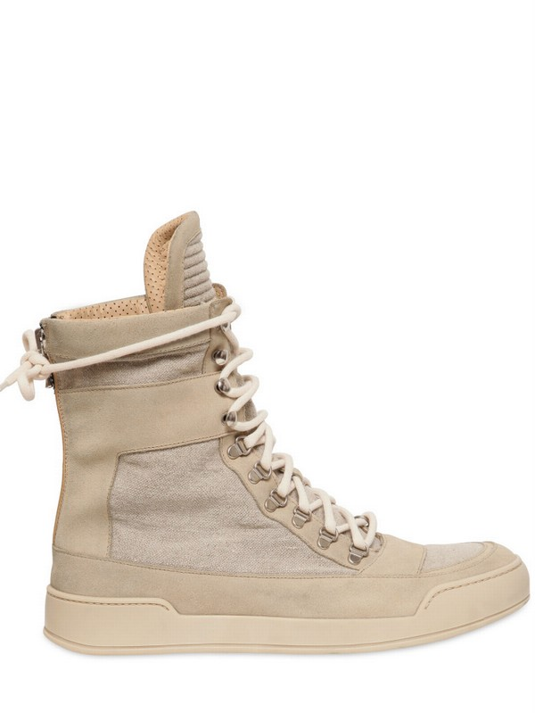 c5ff5fdb7c4 Lyst balmain leather linen high top sneakers in natural for men jpeg  600x799 Beige high top