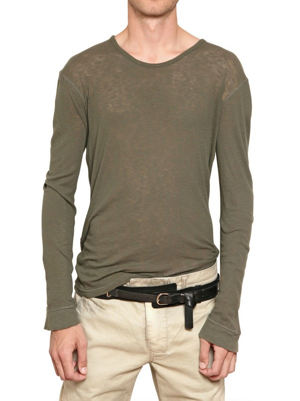 Balmain ribbed cotton jersey long sleeve t shirt in for Ribbed long sleeve shirt