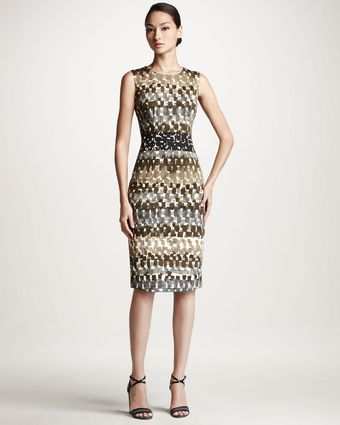 Carolina Herrera Watercolorprint Sheath Dress - Lyst
