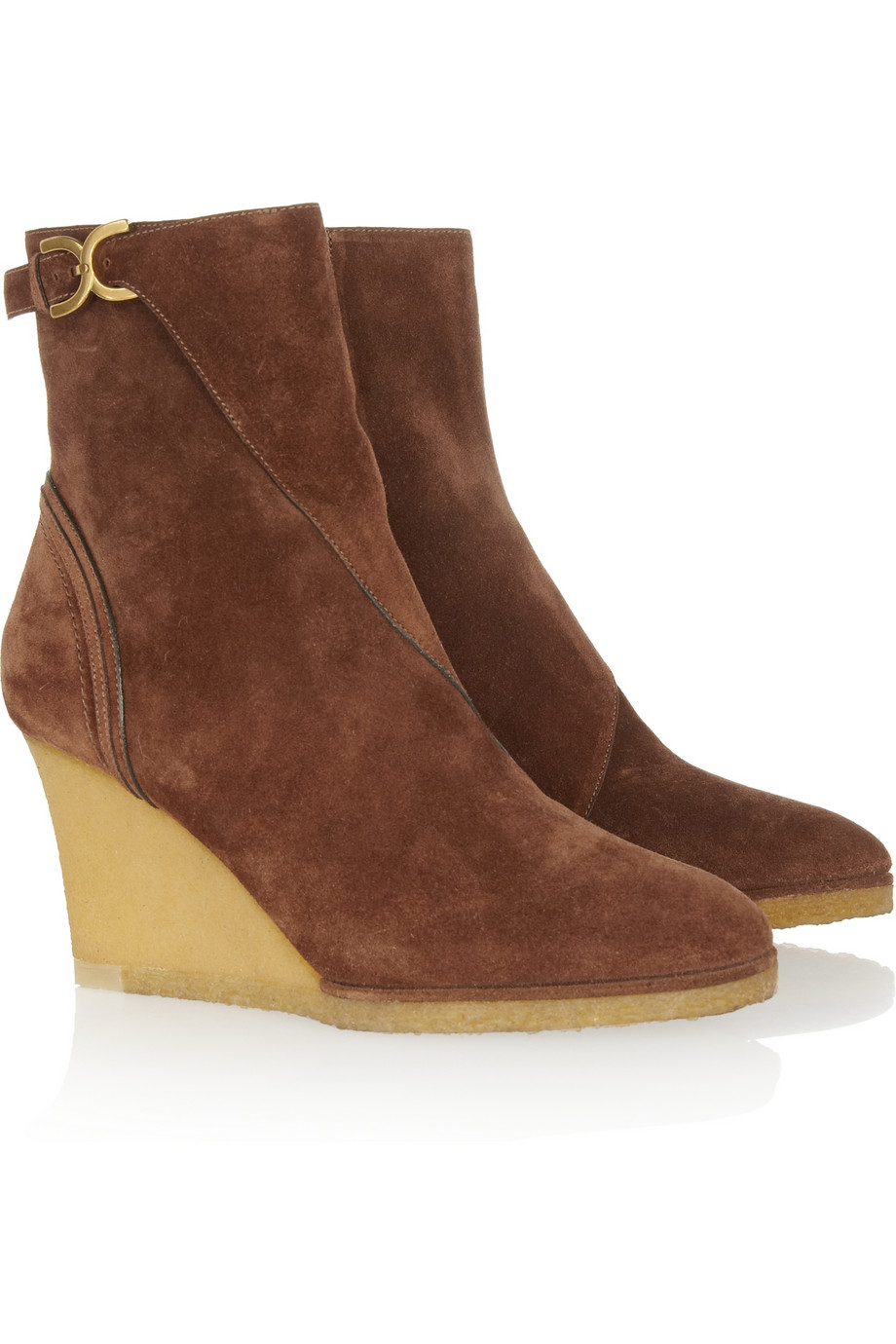 chlo 233 suede wedge ankle boots in brown lyst