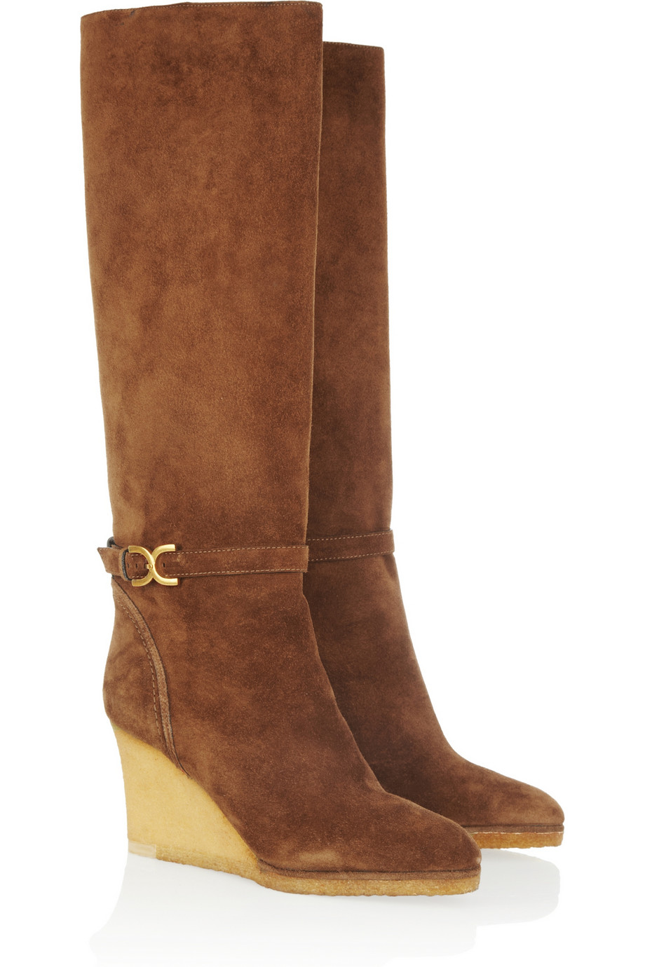Lyst Chlo 233 Suede Wedge Knee Boots In Brown