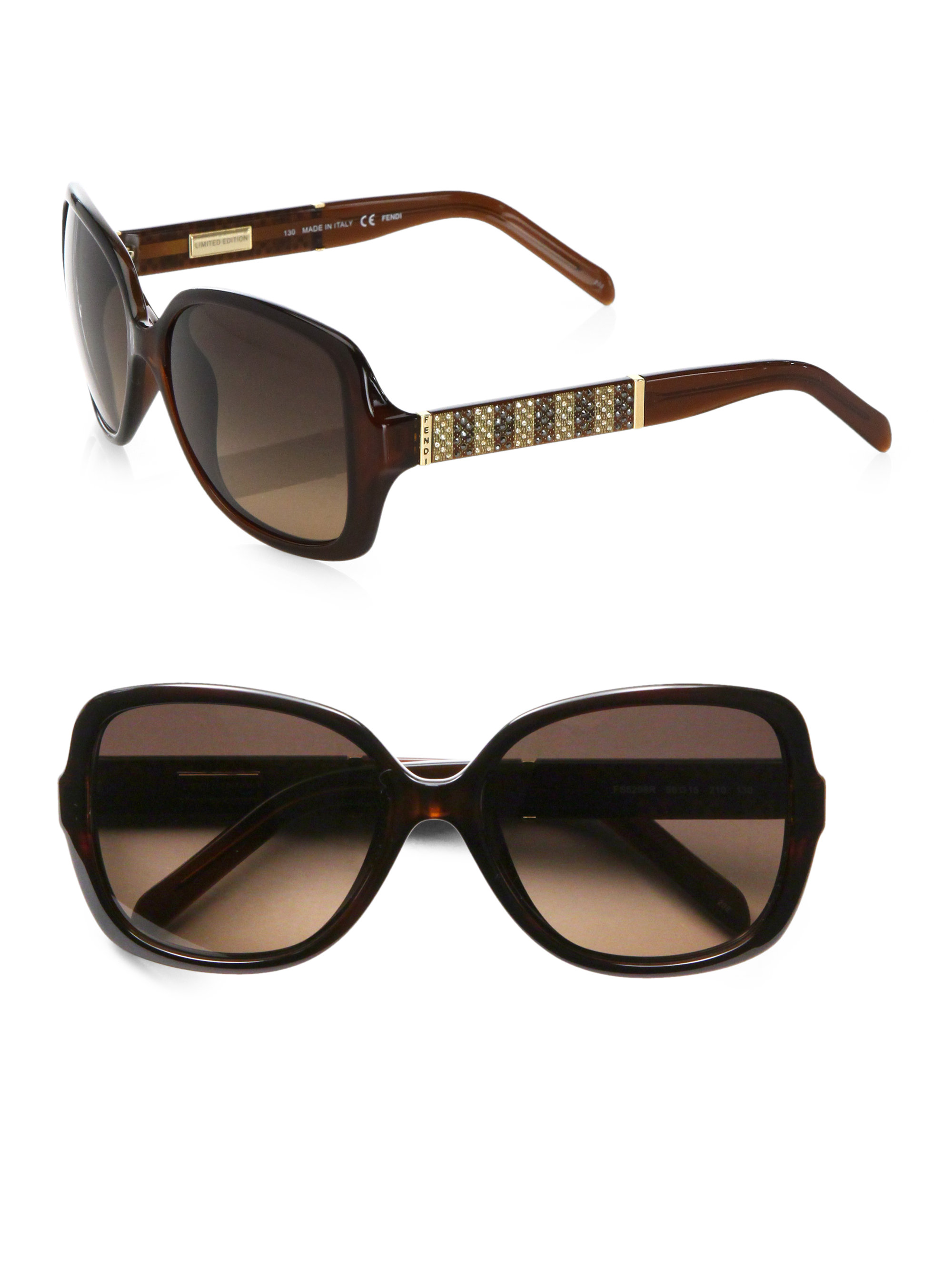 198223d9df21 Lyst - Fendi Pequin Limited Edition Rectangular Sunglasses in Brown
