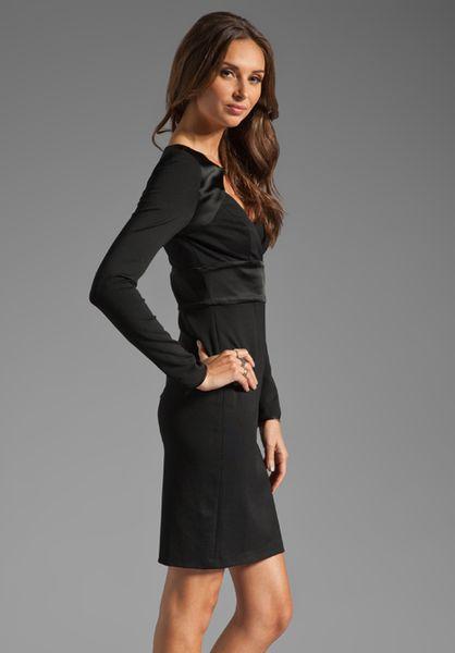Halston Heritage Long Sleeve Diamond Open Front Dress In
