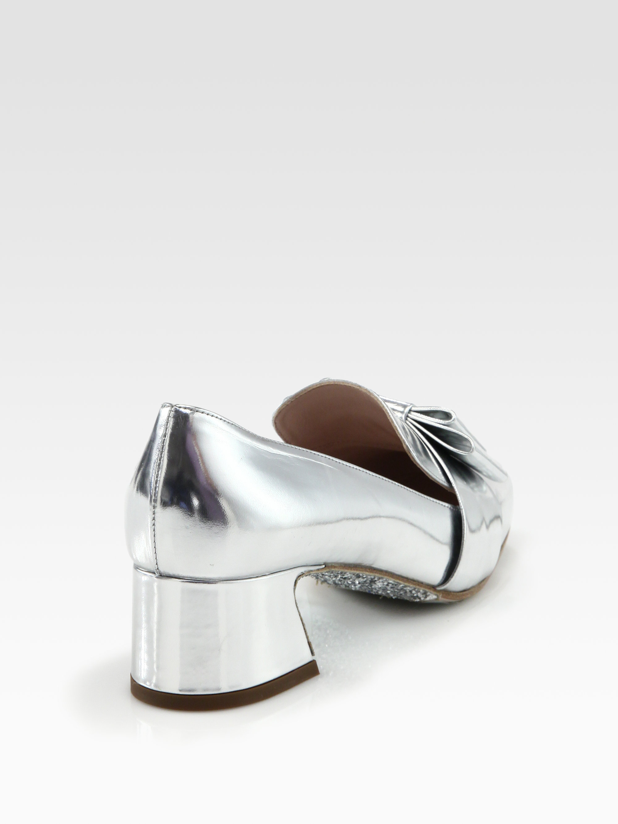 Silver bow loafer Miu Miu Cheap Sale Store Cheap Eastbay Ebay Cheapest Price Cheap Online 8nVFwBE