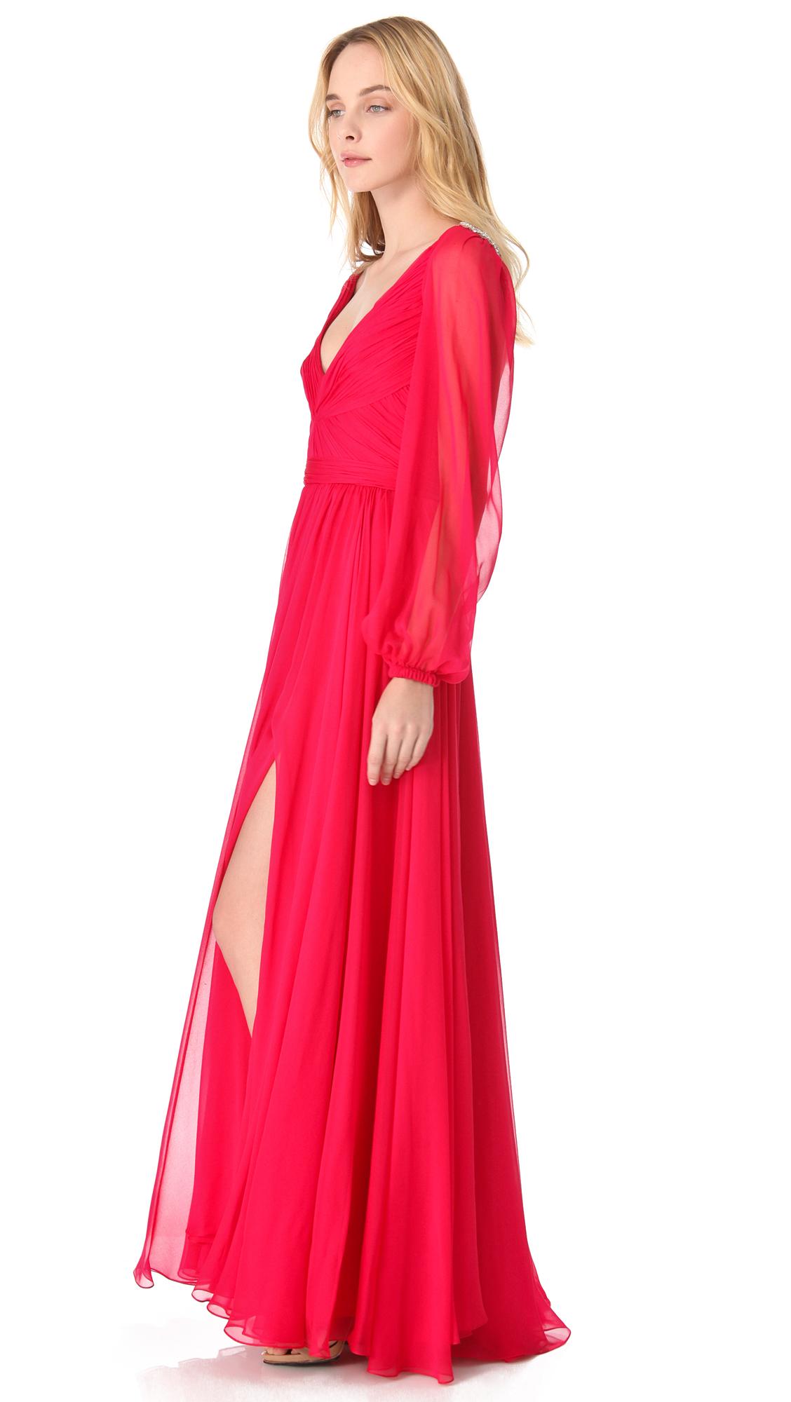 Lyst - Reem Acra Flowing Bell Sleeve Dress in Red