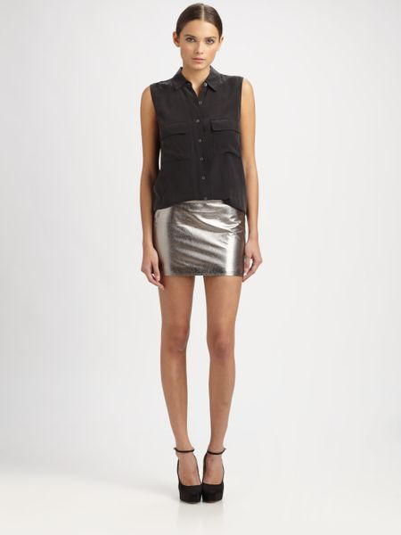 robert rodriguez metallic leather mirco mini skirt in