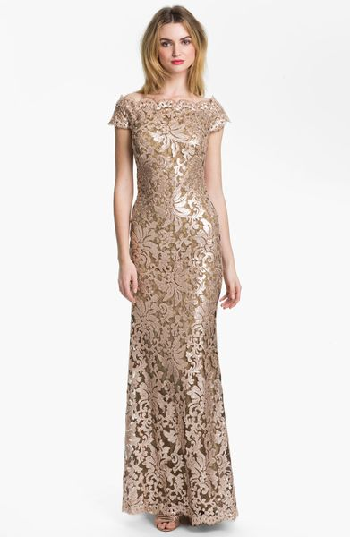 Tadashi Shoji Sequin Lace Off Shoulder Gown In Gold