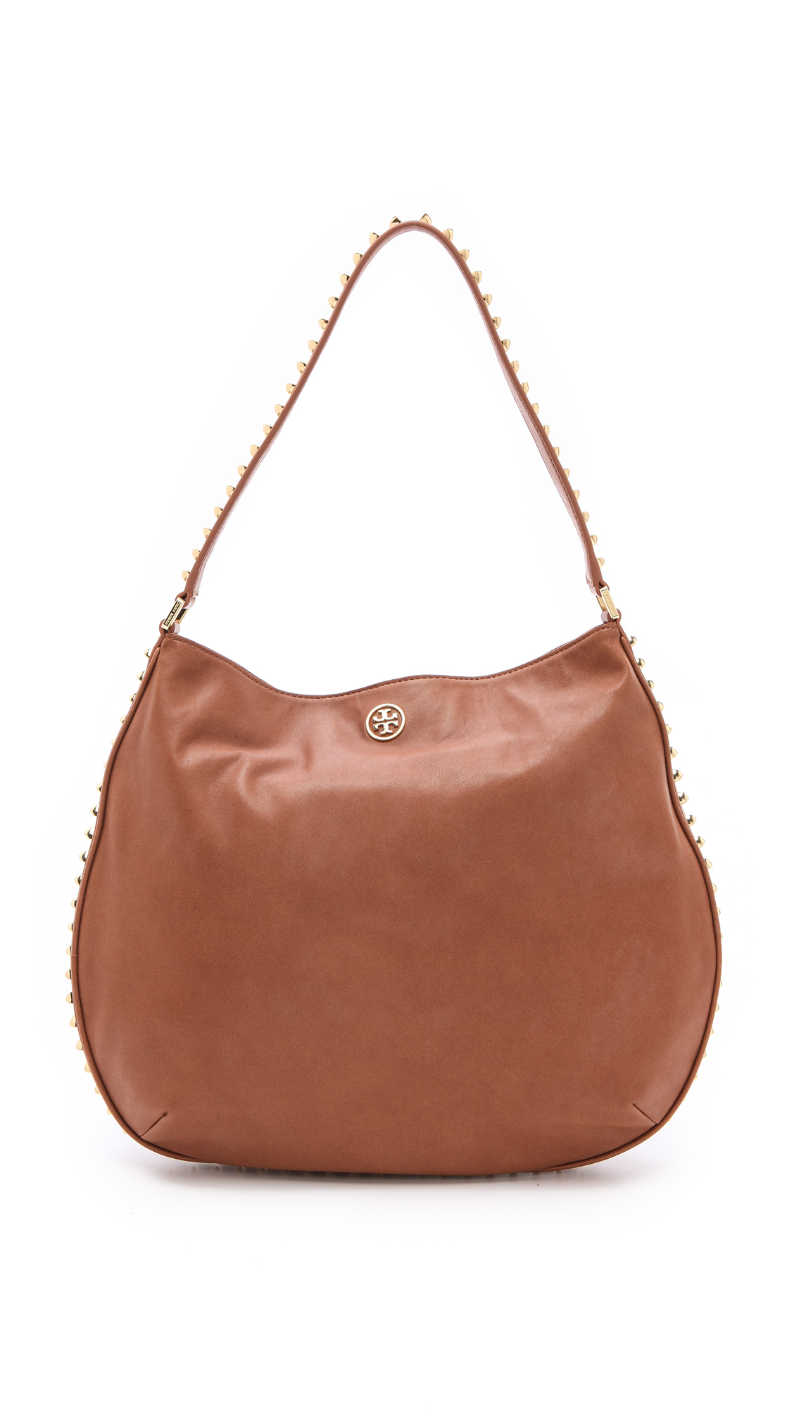 59037452a942 Lyst - Tory Burch Pyramid Stud Hobo in Brown