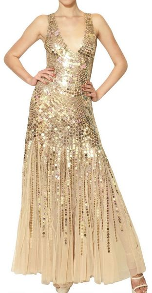 Blumarine Sequins On Techno Mesh Long Dress in Gold (nude)