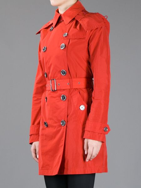 Burberry Brit Double Breasted Trench Coat With Hood In Red