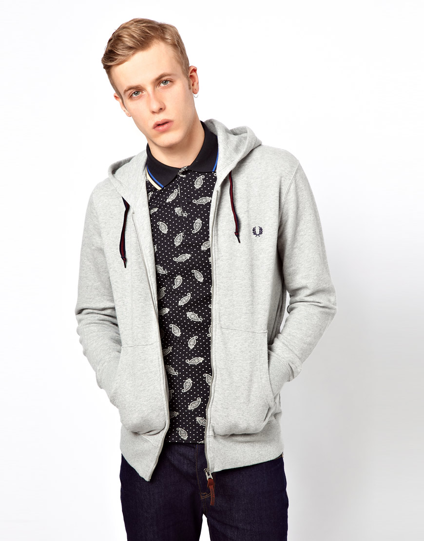 fred perry sweat hooded zip in gray for men lyst. Black Bedroom Furniture Sets. Home Design Ideas