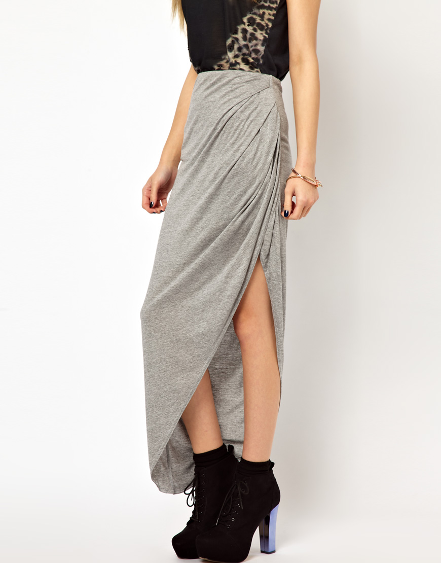 river island drape side maxi skirt in gray lyst