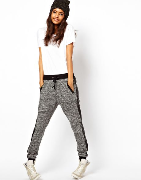 Asos Track Pant with Pu Pocket in Gray (grey) | Lyst