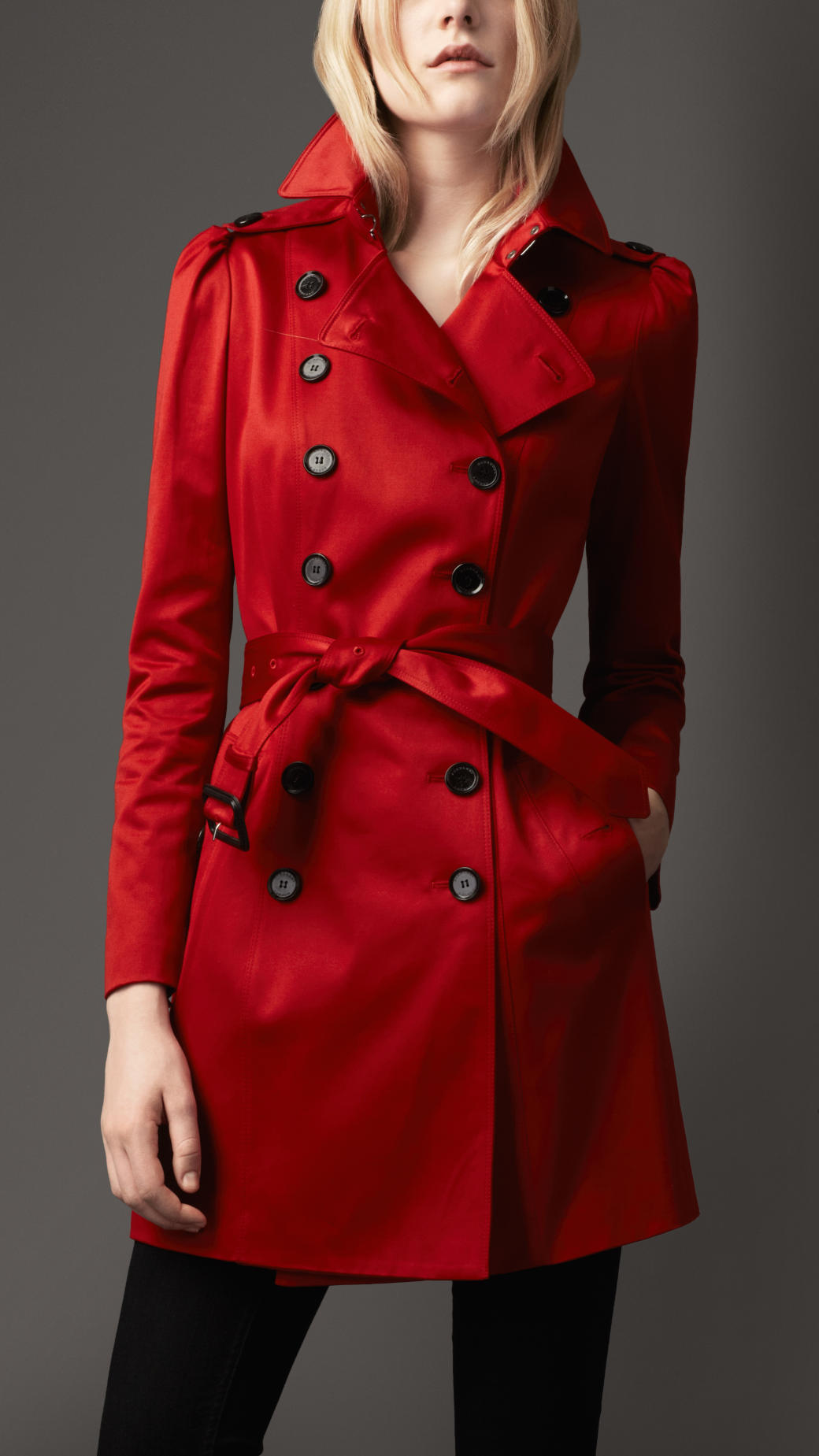 Burberry Midlength Stretchcotton Puff Sleeve Trench Coat