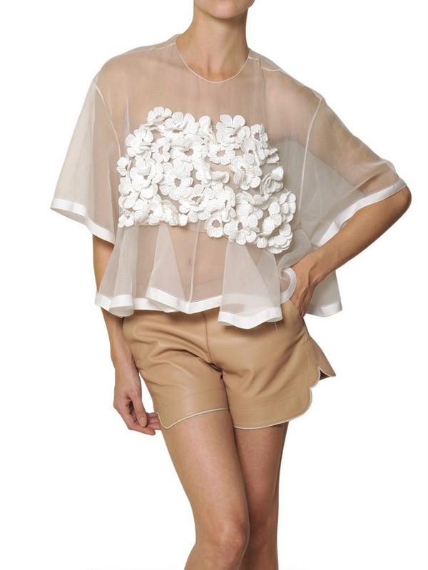 Chlo Silk Crochet Flower On Silk Organza Top In White Lyst