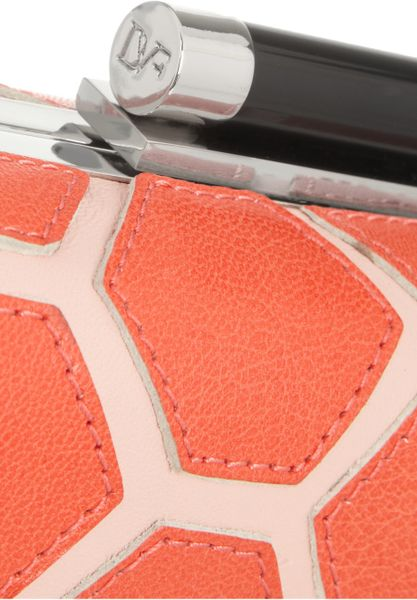 Diane Von Furstenberg Tonda Hexagon Patchwork Leather Box Clutch in Orange (blush) - Lyst
