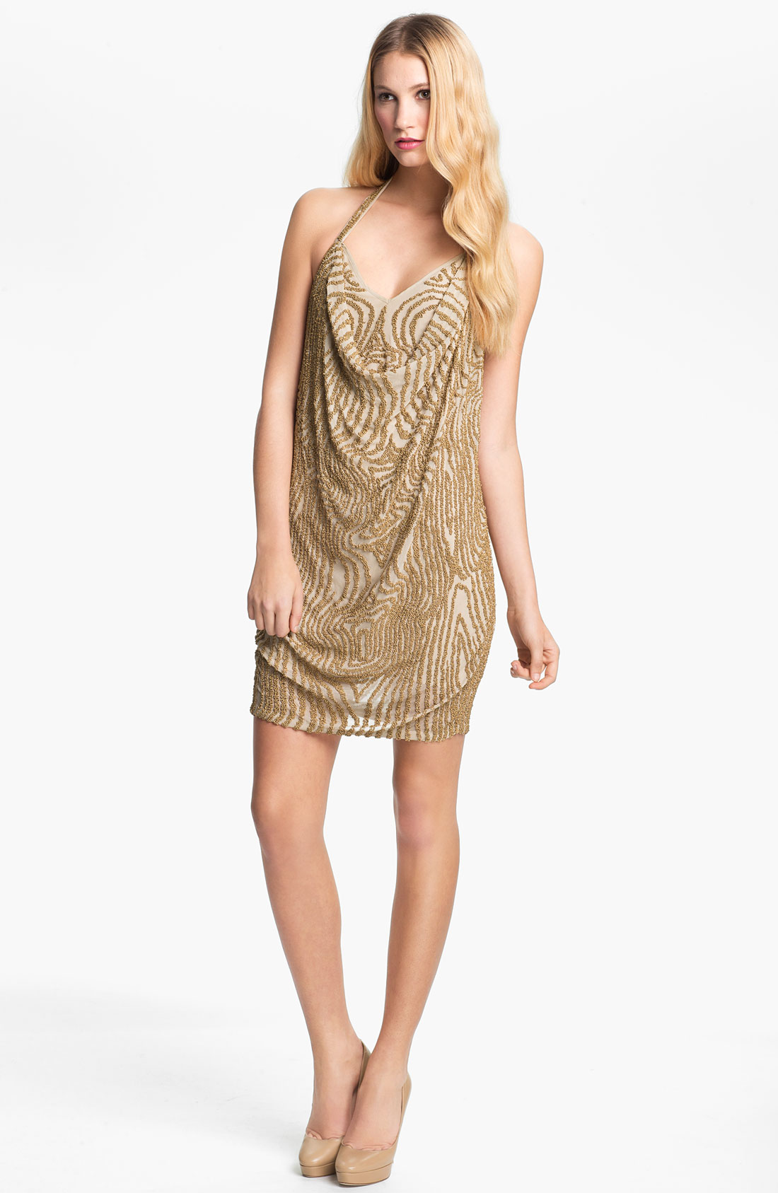haute hippie beaded silk halter dress in gold buff gold