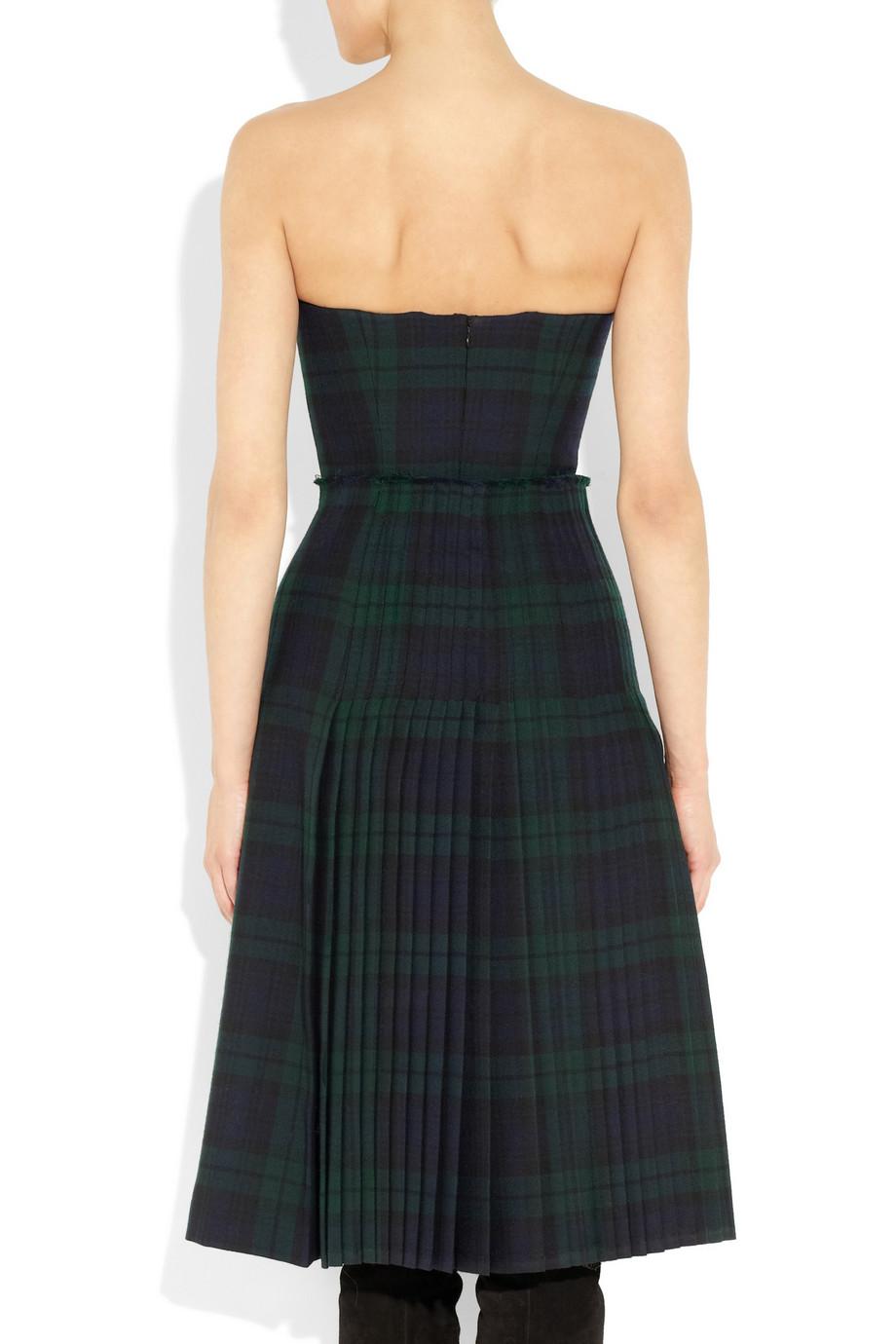 Lyst Mcq The Black Watch Plaid Bustier Dress In Green