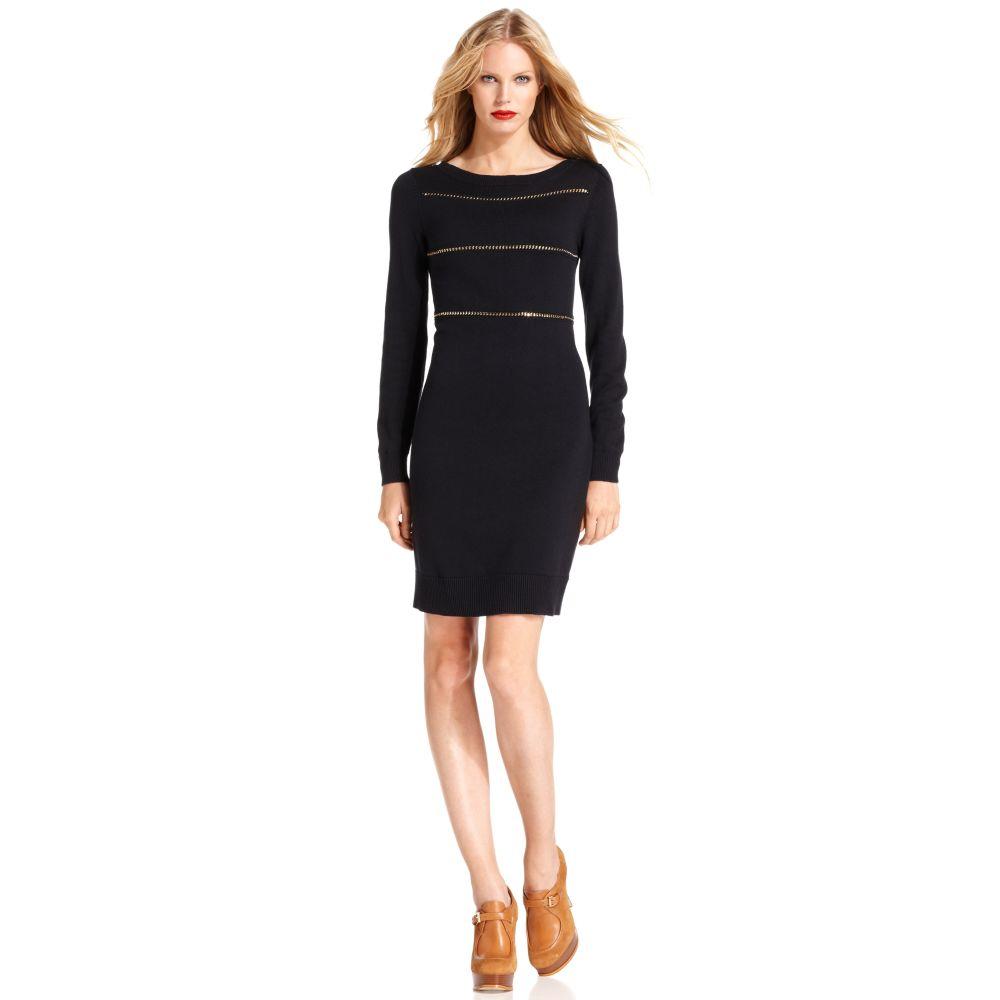 c3eff86ea4 Lyst - Michael Kors Longsleeve Chain Sweater Dress in Black