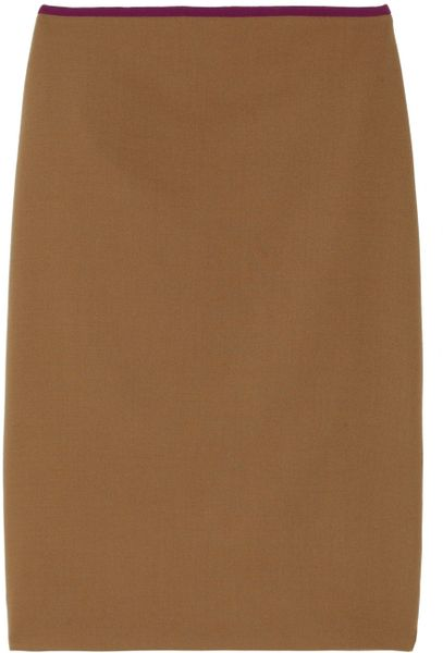 The Row Mallery Contrast Trimmed Wool Skirt in Brown (camel)