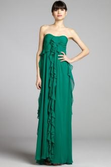 Badgley Mischka Emerald Satin and Silk Chiffon Strapless Ruffle Gown - Lyst