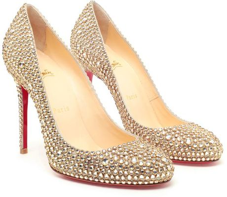 Christian Louboutin Fifi Swarovski Crystal Embellished Pumps in Gold (multi)