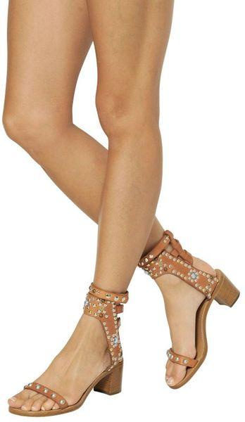 Isabel Marant Caroll Studded Crystal Sandals In Beige Tan