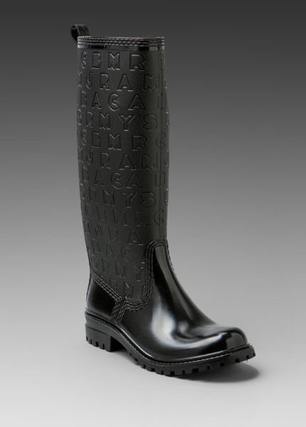 Marc By Marc Jacobs Logoembossed Rain Boots In Black Lyst