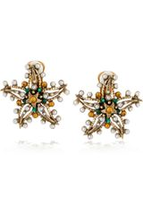 Oscar de la Renta Star Crystal Clip Earrings