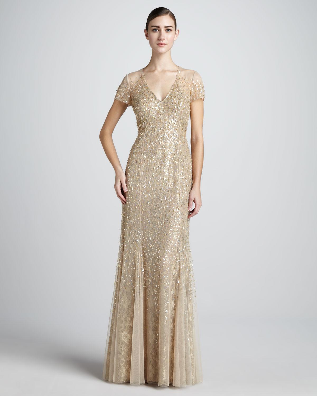 Lyst - Teri Jon Sequined Vneck Gown in Metallic