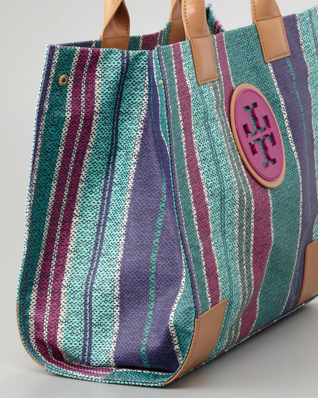 7b4d8ce3b0a8 ... get tory burch ella large striped tote bag lyst ae439 f92e3