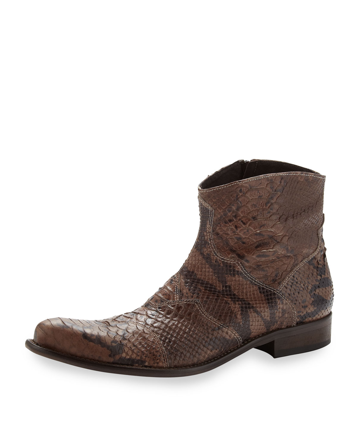 true religion greg pythonembossed boot in brown for