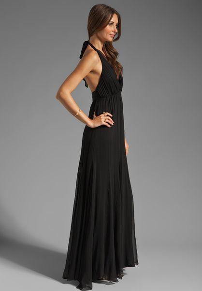 Alice Olivia Alberta Long Halter Dress In Black Lyst