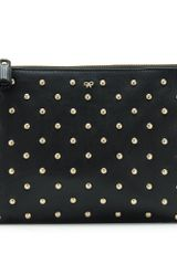Anya Hindmarch Anya Hindmarch Studded Zip Top Leather Clutch