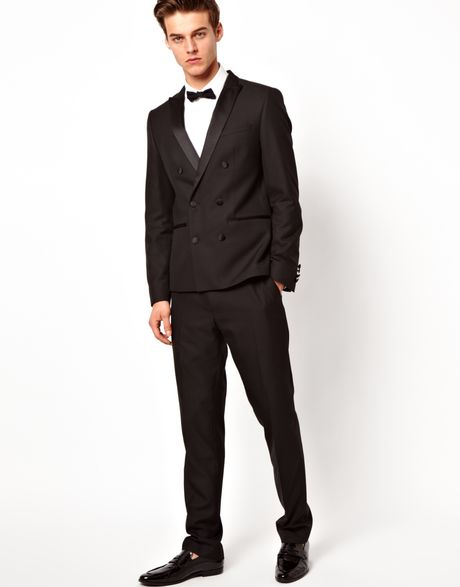 Asos Asos Double Breasted Tuxedo Suit Jacket In Black For