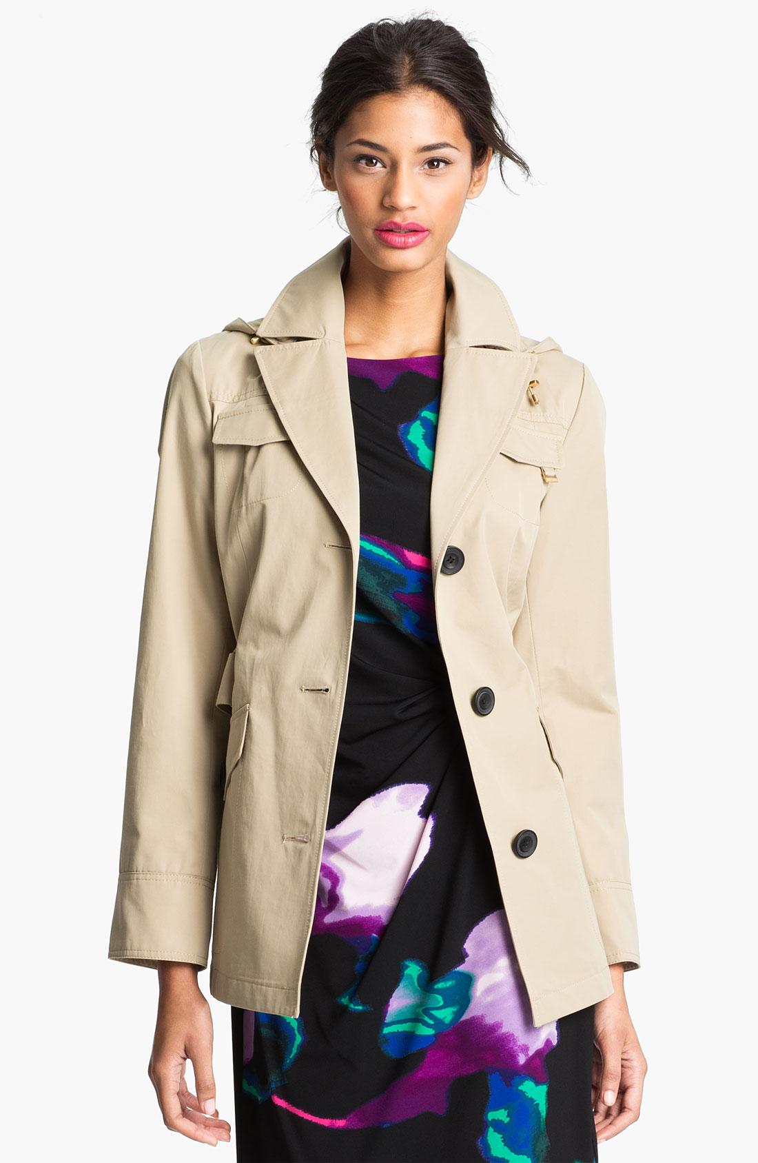 Ellen Tracy Short Trench Coat Nordstrom Exclusive in Khaki