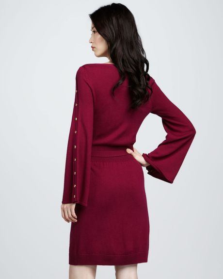Laundry By Shelli Segal Snap Sleeve Sweater Dress in Red ...