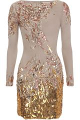 Matthew Williamson Abstract Sequin Georgette Embroidered Long Sleeve Dress