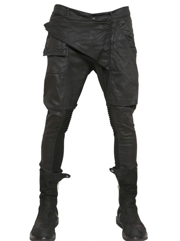 Rick owens 15cm Memphis Wax Stretch Denim Jeans in Black for Men ...