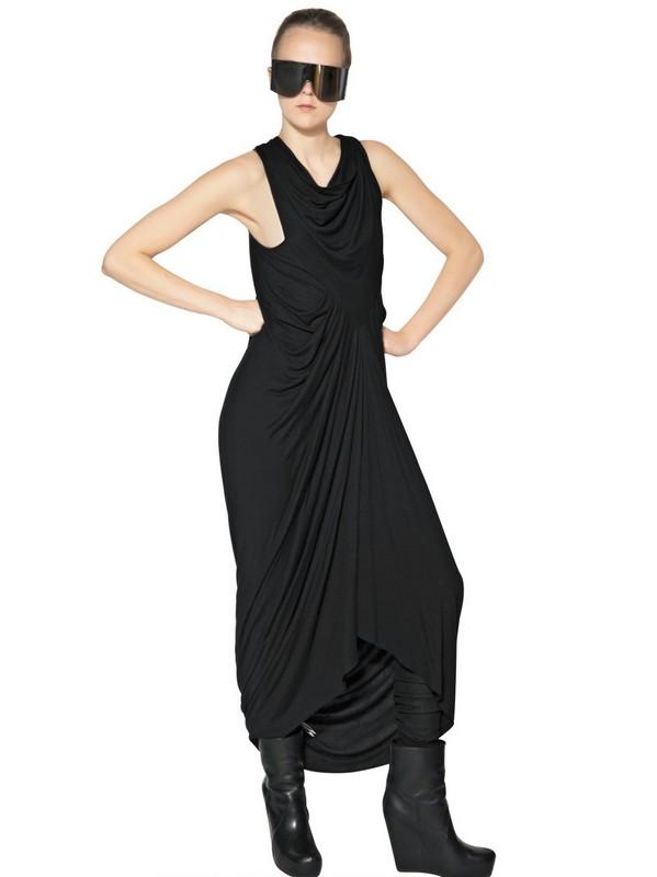 Lyst Rick Owens Silk Cotton Jersey Long Dress In Black