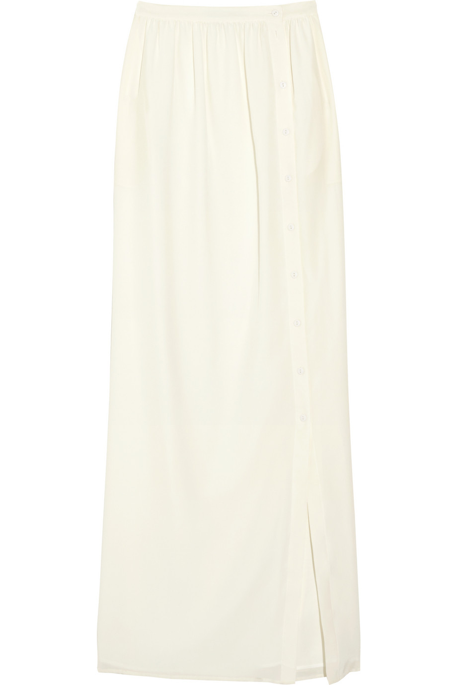 Tibi Silk-crepe Maxi Skirt in White | Lyst