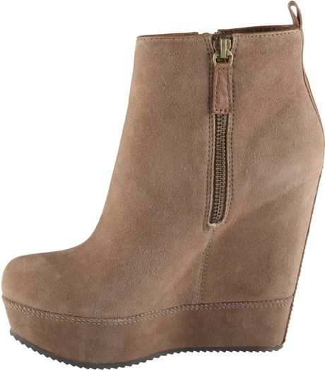 aldo wedge boots in brown camel lyst