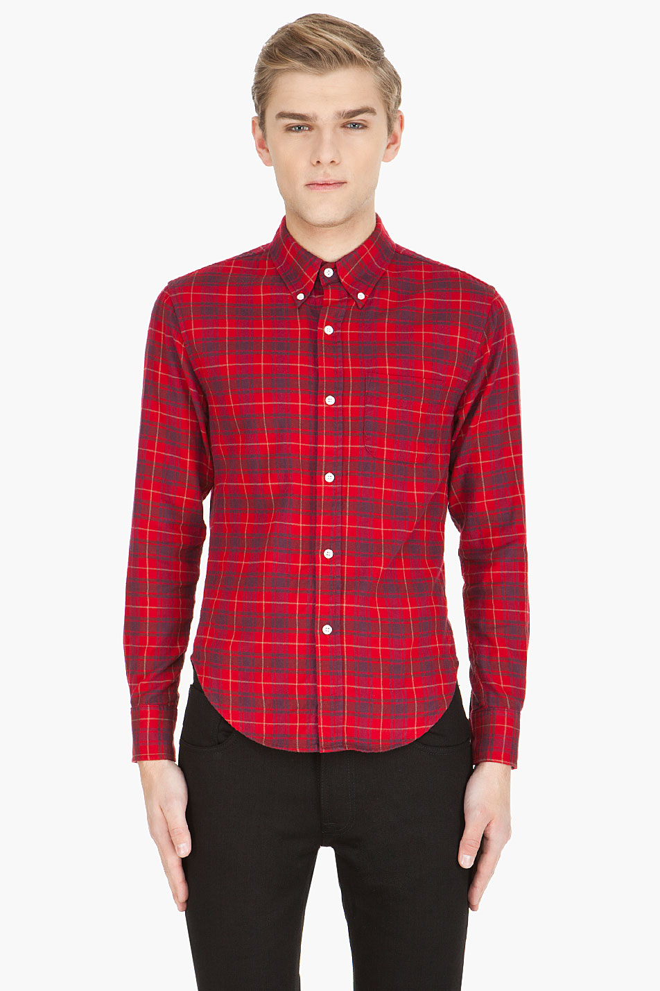 Band Of Outsiders Plaid Flannel Shirt In Red For Men Lyst