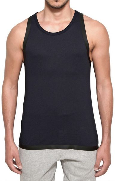 Adidas Slvr Cotton and Silicon Tape Tank Top in Blue for Men (navy)